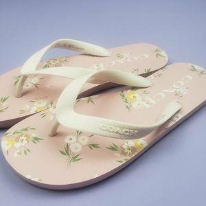 Summery Pink Floral Coach Flip Flops